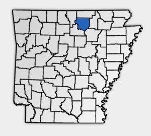 Arkansas map with Izard County highlighted.
